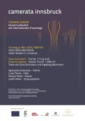 Konzert: Feminine Europe - Camerata Innsbruck Cinns', 6020 Innsbruck (Trl.), 08.03.2015, 18:00 Uhr