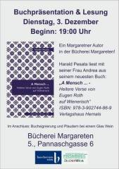 """Buchpräsentation: """"A Mensch  - Heitere Verse von Eugen Roth auf Wienerisch"""" von Harald Pesata, 1050 Wien  5. (Wien), 03.12.2013, 19:00 Uhr"""