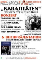"""""""Karasitäten""""  Zitherabend mit Cornelia Mayer zum Kultfilm  Der Dritte Mann  die gesamte Filmmusik, 1020 Wien  2. (Wien), 13.02.2015, 20:00 Uhr"""