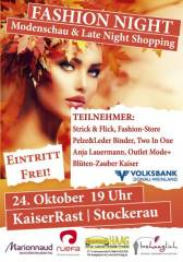 Fashion Night - Modenschau&Late Night Shopping, 2000 Stockerau (NÖ), 24.10.2013, 19:00 Uhr