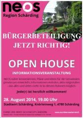 NEOS  ==> OPEN HOUSE, 4780 Schärding Innere Stadt (OÖ), 28.08.2014, 19:00 Uhr