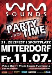 WM-Sounds Partytime | Zeltfest USV Mitterdorf/Raab, 8181 Mitterdorf an der Raab (Stmk.), 11.07.2014, 21:00 Uhr