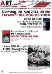 Christl Greller und Irene Pollak bei bilder.worte.töne  Prosa, Lyrik und Kunst an einem Abend!, 1200 Wien 20. (Wien), 17.06.2014, 11:30 Uhr