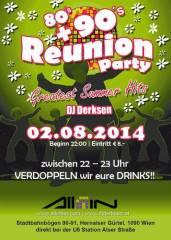 Reunion Party | 80s, 90s + aktuelle Hits, 1090 Wien  9. (Wien), 02.08.2014, 22:00 Uhr