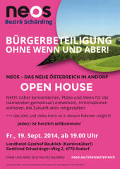 NEOS OPEN HOUSE, 4770 Andorf (OÖ), 19.09.2014, 19:00 Uhr