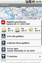 Screenshot von Interaktiver, realtime ResortGuide für St. Anton.