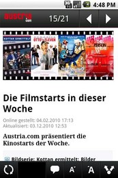 Screenshot von austria.com für unterwegs als Android Applikation.