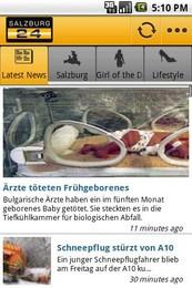 Screenshot von salzburg24.at für unterwegs als Android App.