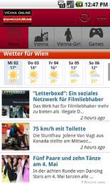 Screenshot von vienna.at für unterwegs als Android Applikation.