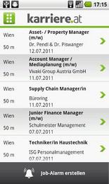 Screenshot von Die mobile karriere.at App mit allen Jobs und Stellenangeboten von karriere.at. Natürlich kostenlos.