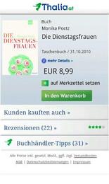 Screenshot von Österreichs beliebteste Buchhandlung auf Ihrem Smartphone