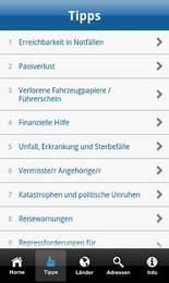 Screenshot von Die App für Notfälle im Ausland. Alle österreichischen Botschaften und Konsulate auf einen Klick.