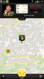 Screenshot von myTaxi - die überregionale Taxi App. Ein Knopfdruck genügt und das Taxi kommt!