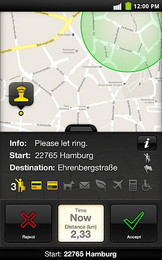 Screenshot von myTaxi - die neue Fahrtenvermittlung als App für Deutschland und Wien