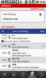 Screenshot von Die ÖBB bieten Ihnen mit SCOTTY mobil den umfassendsten Informationsservice zum gesamten Öffentlichen Verkehr in Österreich.