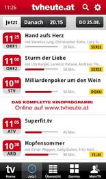 Screenshot von Die TV-App zum größten TV-Programm Österreichs im Web (mehr als 600.000 Besucher/Monat auf www.tvheute.at) mit zahlreichen Funktionen und Features!