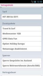 Screenshot von My T-Mobile (Version 1.3) ermöglicht die einfache Kontrolle Ihrer Freieinheiten und Gebühren!