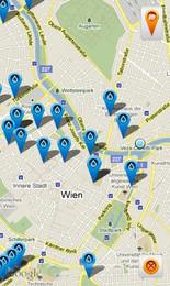 Screenshot von OpenVienna benutzt die frei zur Verfügung gestellten Daten der Stadt Wien und zeigt diese übersichtlich auf einer Google-Map an. Angezeigt werden können u.a. Krankenhäuser, Museen uvm.!