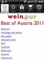 Screenshot von Die wein.pur App Best of Austria 2011 führt Sie zu den besten Weingütern Österreichs.