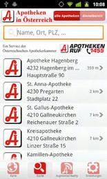 Screenshot von Die kostenlose Apo-App der Österreichischen Apothekerkammer zeigt alle Apotheken in Ihrer Umgebung via GPS-Ortung.