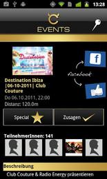 Screenshot von Alle Events, Fotos & Videos, Member-Area, Location-Infos, Anfahrt & vieles mehr.