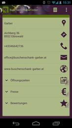 Screenshot von Mit dem BuschenschankFinder können ganz einfach Buschenschenken in ihrer Nähe gefunden werden.