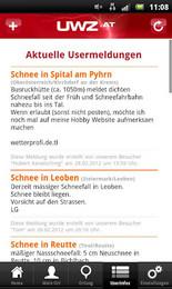 Screenshot von Überall bestens über Unwetter informiert sein - die Österreichische Unwetterzentrale (UWZ) jetzt für Ihr Android Smartphone!