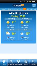 Screenshot von www.wetter.tv bietet punktgenaue Prognosen und aktuelle Wetter-Berichte für ganz Österreich.