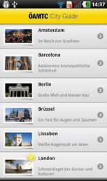 Screenshot von Entdecken Sie Europas schönste Städte mit dem neuen ÖAMTC City Guide. In der App finden Sie die wichtigsten Informationen rund um Anreise, Sehenswürdigkeiten, Restaurants, öffentliche Verkehrsmittel u.v.m.