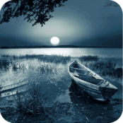 Nächtliche Flusslandschaft