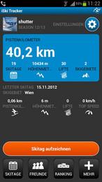 Screenshot von Die neue App iSki Tracker ist ein Muss für den trendigen Wintersportler. Mittels Smartphone kannst du deinen Skitag exakt aufzeichnen und im Anschluss analysieren.