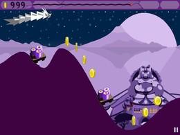 Screenshot von Hilf Wu dem Drachen, über die Hügel in die Ferne hinaus zu gleiten. Dein Ziel ist, ihn zum Hof des Kaisers Jade noch vor Einbruch der Dämmerung zu bringen.