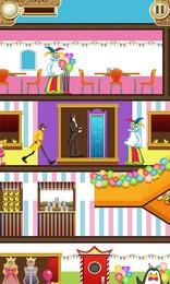Screenshot von Hilf Sam seinen Weg an komischen, farbigen Gegnern (teddie bären?) und Fallen vorbei durch sein eigenes Haus, geheime Lager, Flughäfen und mehr.