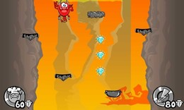 """Screenshot von """"Der Hölle zu entfliehen, ist keine leichte Aufgabe und dieser kleine Teufel braucht deine Hilfe! In """"""""Hell Jump"""""""" steuerst du den Teufel, indem du nach links oder rechts springst."""