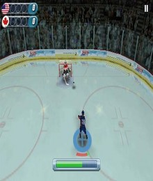 Screenshot von Hockey Nations 2010 ist ein schnelles, spaßiges Spiel, dass die Tempo und Taktik des Internationalen Eishockeys auf dein Mobilgerät zaubert.