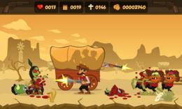 Screenshot von Den wilden westen greifen zombies ein! Als der hauptcowboy musst du deine leute vor diesen lästigen unbeseelten kreaturen verteidigen. Verbessere deine waffen, bereite dich auf den kampf, oder heuere hilfe und lass dich nicht töten!
