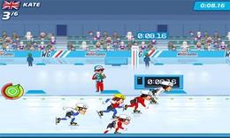 Screenshot von Erlebe in elektrisierenden Wintersportfesten die Spannung des Wettkampfs! Nimm mit Playman an fünf aufregenden Disziplinen teil. Tritt mit deinem Favoriten aus 12 Topathleten in einzelnen Wettkämpfen an  oder für den Meistertitel in allen auf einmal!
