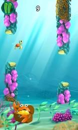 Screenshot von Die süße Baby-Schildkröte lernt mit ihren flattrigen Armen  Schwimmen. Steuere sie durchs Meer, ohne in ein Riff zu schwimmen!