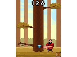 Screenshot von Zeige, wie gut du im Holzhacken bist, und hacke so viele Holzblöcke wie möglich vom Baum ab. Du musst schnell sein, aber achte auf die kommenden Äste!