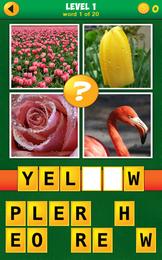 Screenshot von Schauen Sie sich die 4 Bilder an und finden sie das, das nicht dazu gehört. Das klingt einfach, aber einige Rätsel können tückisch sein. Wenn Sie Quiz und Wortspiele mögen, werden Sie dieses fantastische Rätsel genießen.