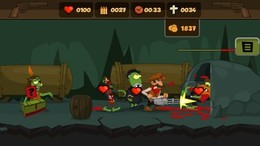 Screenshot von Die Zombie-Invasion im Wilden Westen gelangt unter die Erde. Schnapp dir deine Waffen, Cowboy. Die Bergleute brauchen dich, um das Böse zu bekämpfen! Bekämpfe die Quelle der Infektion. Was tot ist, soll auch tot bleiben  und vor allem begraben!
