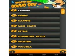 Screenshot von Sports Fan Sound Box ist eine Anwendung voll von verschiedener Tönen, wie z. B. klatschen, weinen, schreien und der vuvuzela.