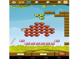 Screenshot von Ziele und feuere einfach auf die Hungrigen Würmer bei den Wänden aus saftigem Obst! Erwische so viel Obst wie möglich, um ein Level zu bestehen und um dich durch die vielen fruchtigen Levels zu kämpfen!