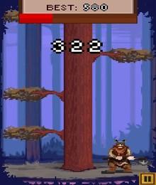 Screenshot von Hacke das Holz so schnell du kannst und gewinne die Goldmedaille im Baumfällen! Du musst schnell sein und auf die gefährlichen Äste achten.