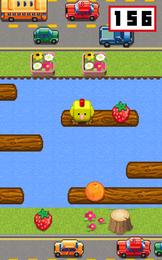 Screenshot von Hilf dem Huhn beim Überqueren der Straße. Autos ausweichen! Auf Holz springen! Früchte essen!