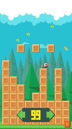 Screenshot von So ein Vogel hat es nicht leicht. Weiche den Kisten aus und sammle gleichzeitig leckere Getreidekörner.
