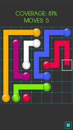 Screenshot von Ein einfaches Puzzle-Spiel mit Suchtfaktor. Verbinde je zwei der farbigen Punkte mit einer Leitung, damit Wasser fließen kann.