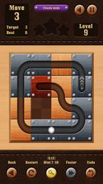 Screenshot von Ein klassisches Verschiebe-Puzzle, bei dem du die Holzkacheln bewegen musst, um den Weg vom Start bis zum Ziel freizumachen.