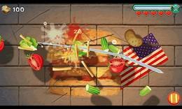 Screenshot von Werde zum größten Ninja-Koch aller Zeiten indem du die Welt bereist & leckere Burger, Pizza, Chilli und Früchte schneidest!