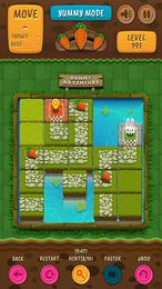 Screenshot von Verschiebe Kacheln und baue für den Hasen einen Weg zum Ziel.